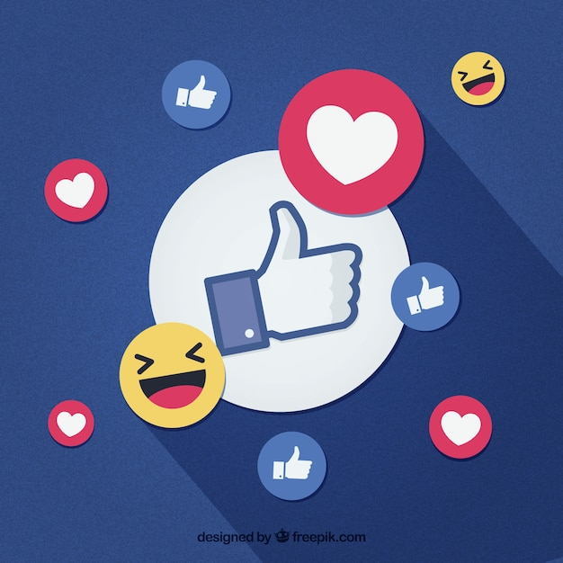 Facebook background with likes and hearts Free Vector