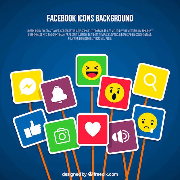 Facebook background with many icons Free Vector