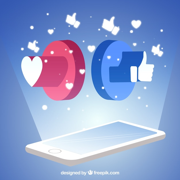 Facebook background with mobile phone Free Vector
