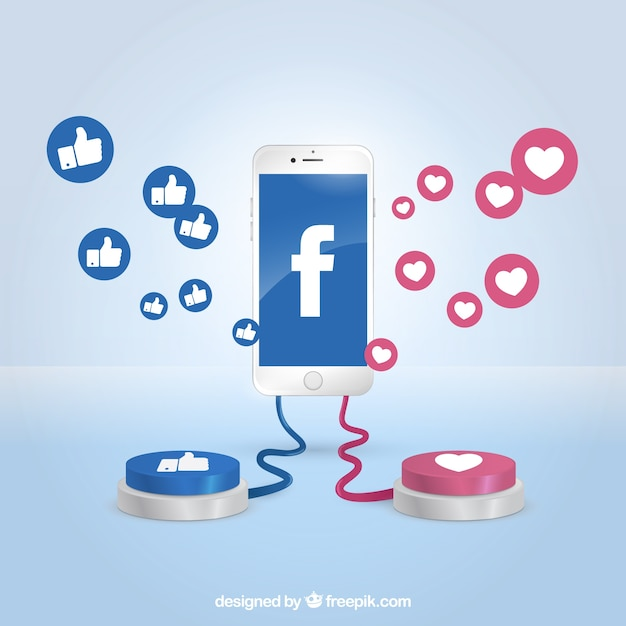 Facebook background with realistic icons Free Vector
