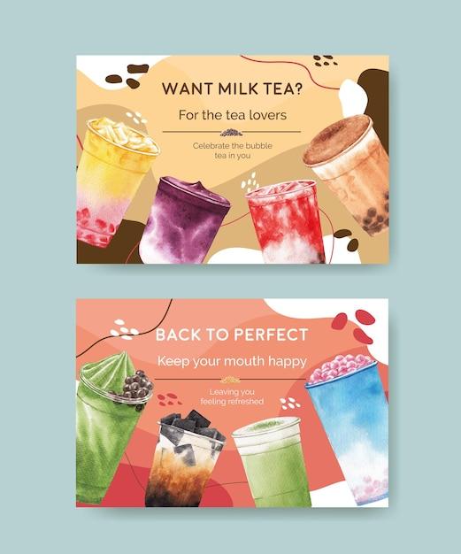 Шаблон баннера facebook с пузырьковым молочным чаем Бесплатные векторы