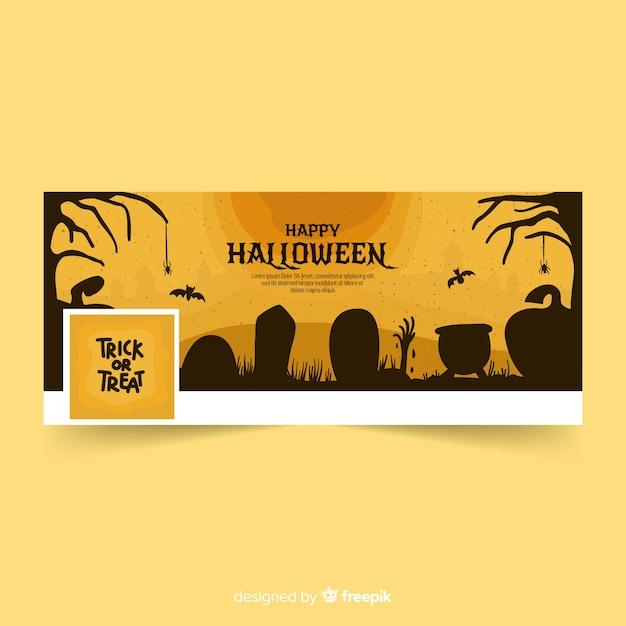 Facebook banner with halloween concept Free Vector