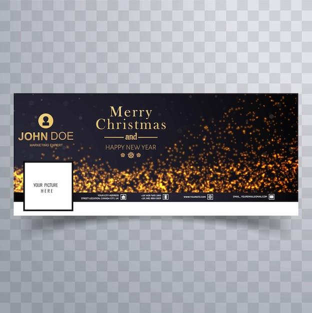 Элегантный веселый рождественский блеск с facebook banner Premium векторы