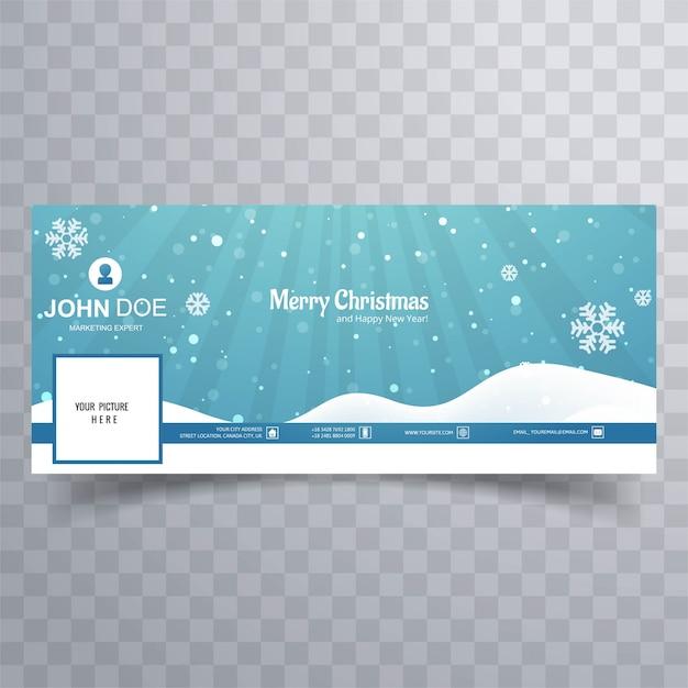 Счастливого рождества снежинки с facebook banner Premium векторы