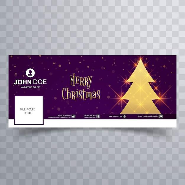 Красивый веселый шаблон рождественской елки facebook banner Premium векторы
