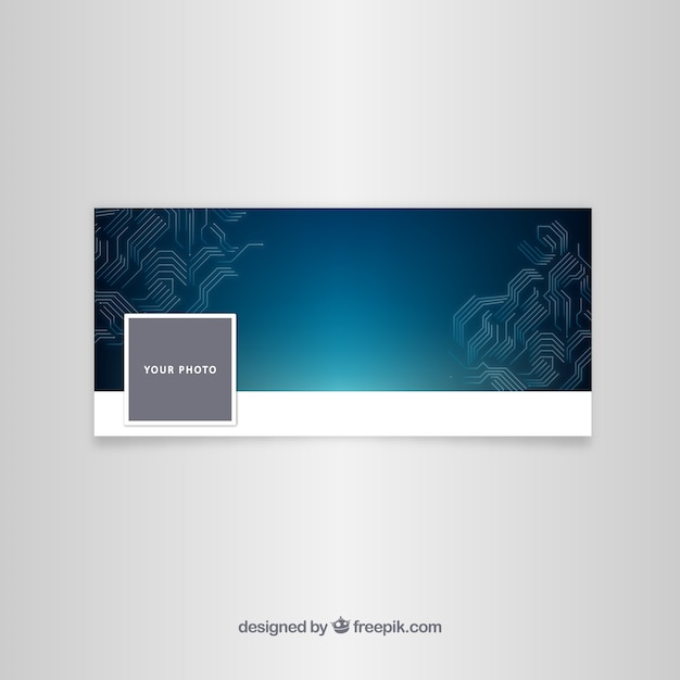 Facebook blue cover with circuit