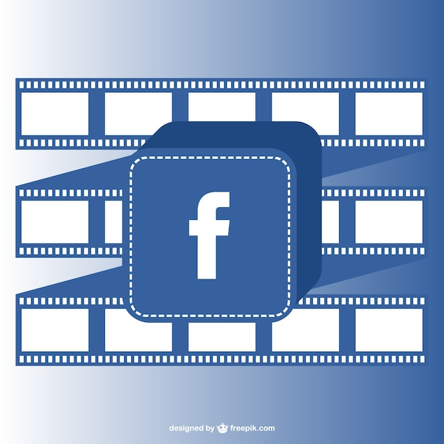 Facebook button and film roll Free Vector