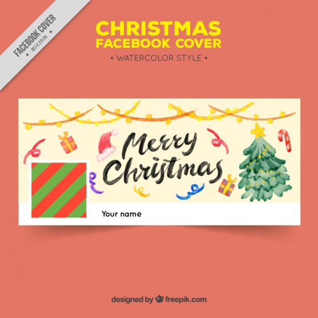 Facebook Cover Cute Watercolor Christmas Decorations Vector Free