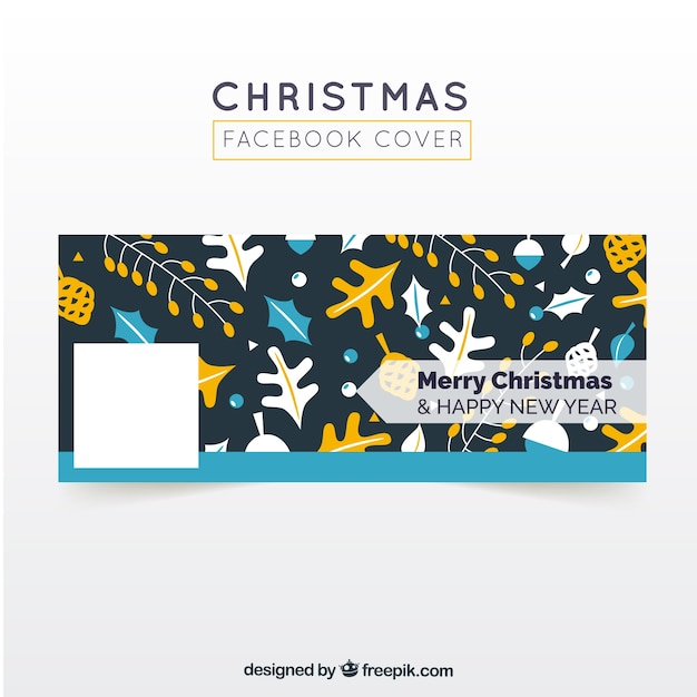 Facebook cover merry christmas and happy new year Vector | Free Download