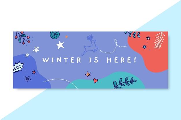 落書きカラフルな冬の描画のfacebookカバーテンプレート 無料ベクター