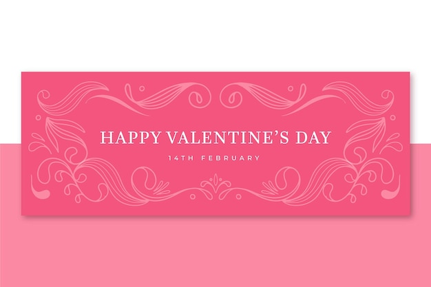 Facebook cover valentine's day template Free Vector