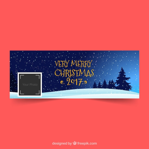 Facebook cover with a beautiful christmas night Vector | Free Download