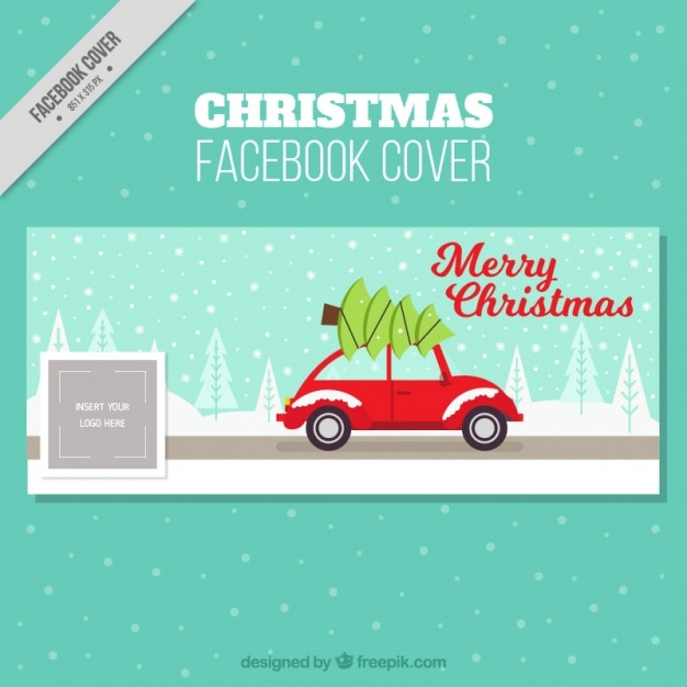 Christmas Tree Facebook Cover Photo: Facebook Cover With Car And Christmas Tree Vector