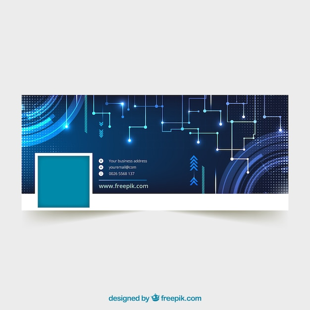 Facebook cover with digital elements
