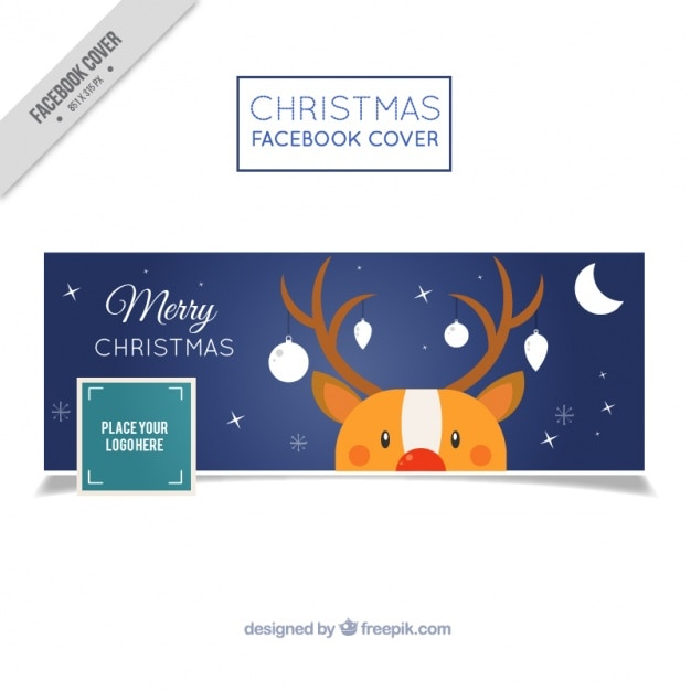 Facebook cover with nice reindeer