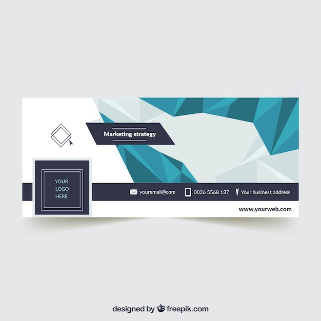 Facebook cover with polygonal shapes