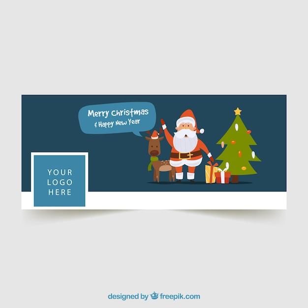 Immagini Di Copertina Di Natale.Copertina Facebook Con Una Renna Un Albero Di Natale E Un Babbo Natale Vettore Gratis