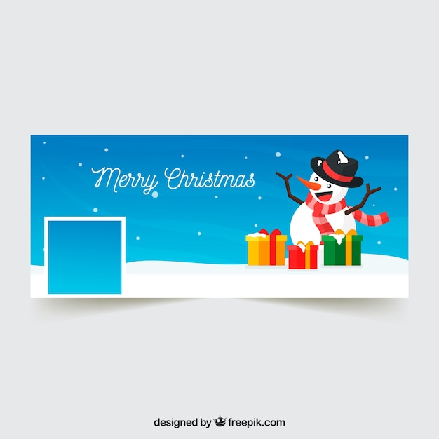 Facebook cover with snowman and gifts