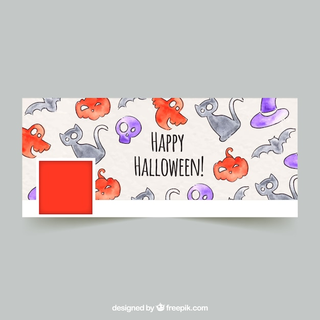 Facebook cover with watercolor drawings of halloween Free Vector