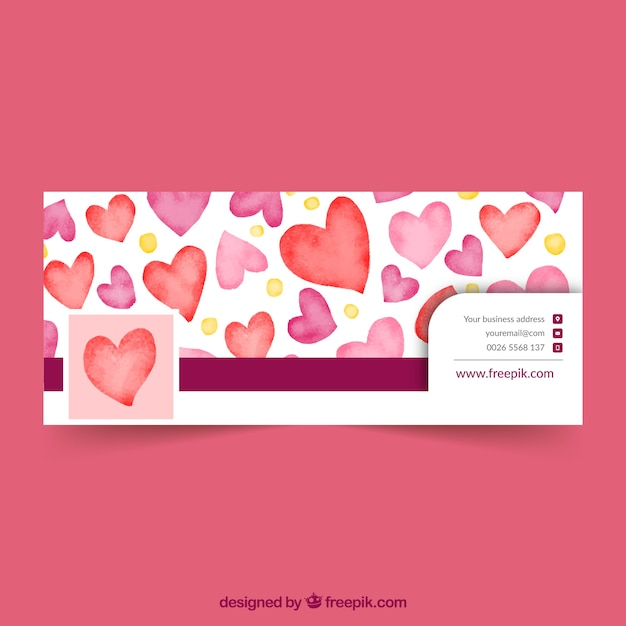Facebook cover with watercolor hearts Free Vector