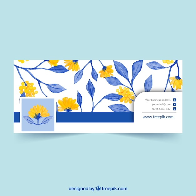 Facebook cover with yellow flowers and blue\ watercolor leaves