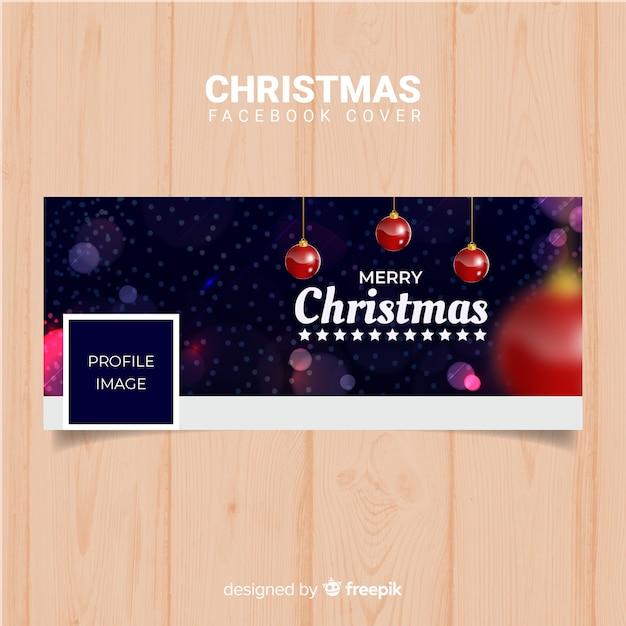 Размытый шар рождество facebook cover Бесплатные векторы