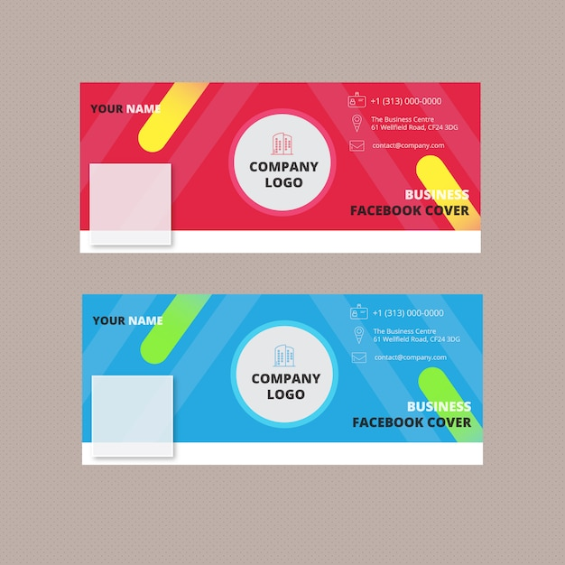 Facebook covers set Free Vector