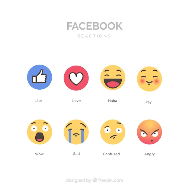Facebook emoji collection with flat design Free Vector
