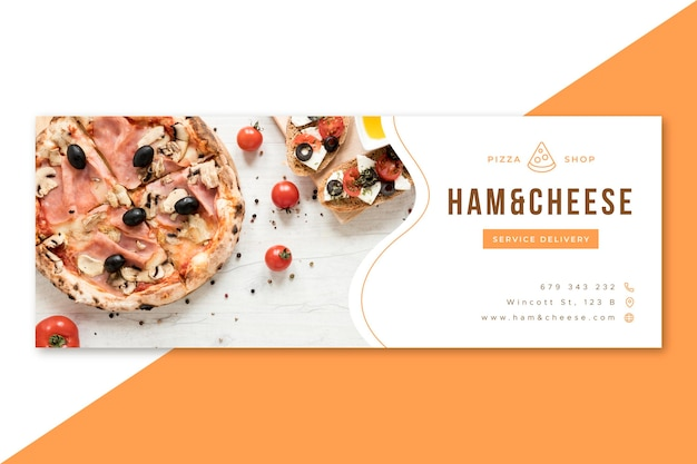Facebook food restaurant cover design Free Vector