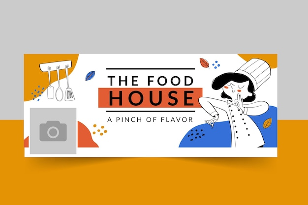 Facebook food restaurant cover template Free Vector