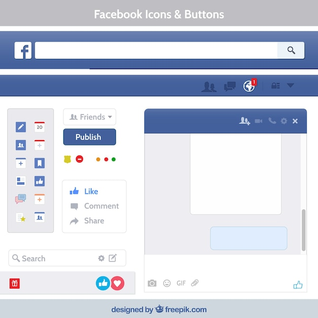 Facebook icons and buttons Free Vector