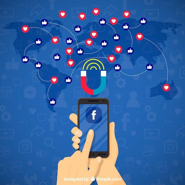 Facebook влиятельный фон с репутацией и смайликами Бесплатные векторы