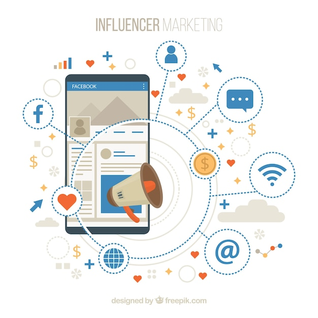 Facebook influencer background with decive and emoticons Free Vector
