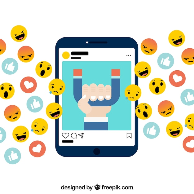 Facebook influencer background with decive and emoticons ...