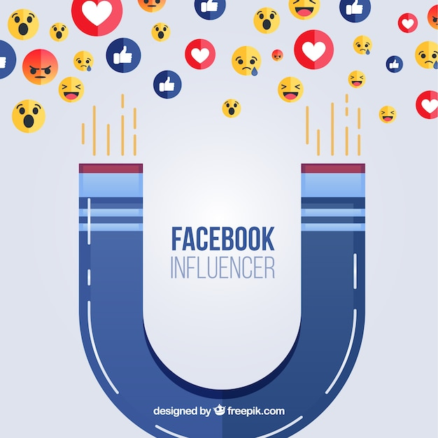 Facebook influencer background with emoticons Free Vector