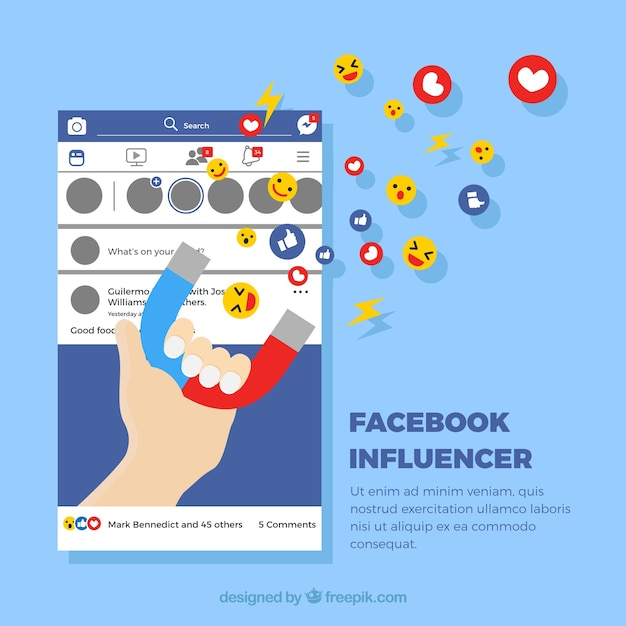 Facebook influencer background with emoticons Vector ...