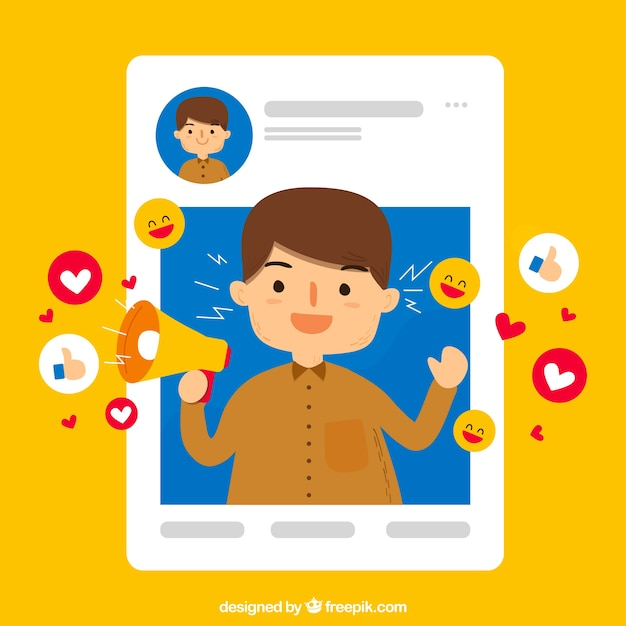Facebook influencer background Free Vector