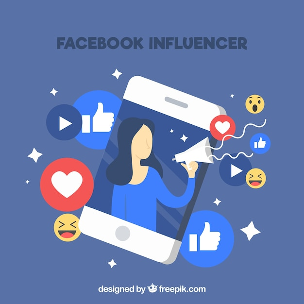 Facebook influencer background Free Vector