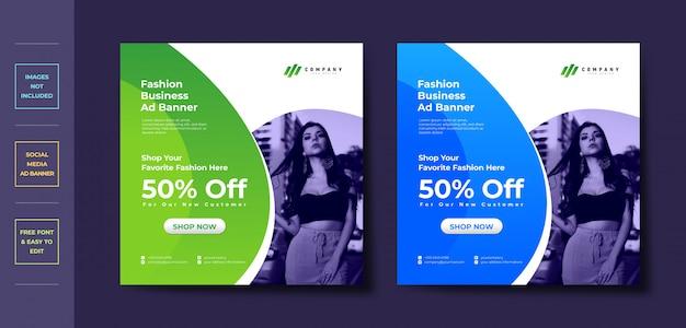 Facebook instagram обложка в социальных сетях шаблон дизайна рекламного баннера Premium векторы