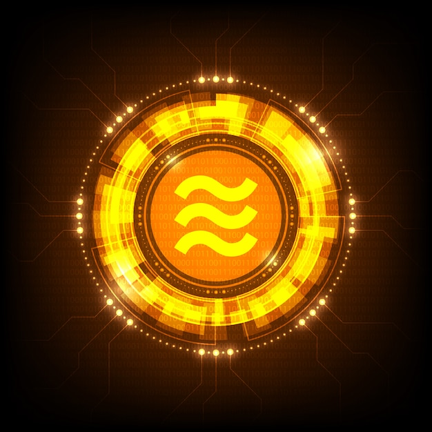 Facebook libra coin symbol Premium Vector