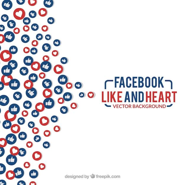 Facebook как и сердце фон Бесплатные векторы