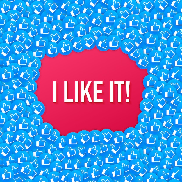 Facebook like icon composition background. i like it. social media like thumb up. Premium Vector