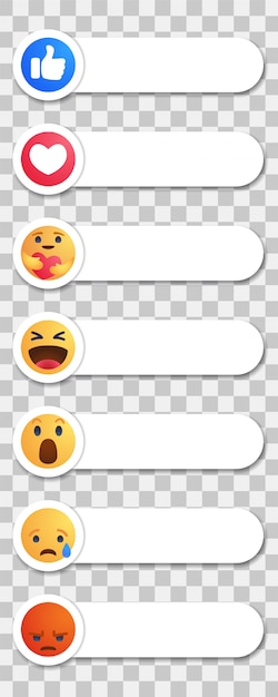 Facebook любит круглую желтую мультипликационную кнопку «эмпатические реакции эмодзи» с новой реакцией на уход Premium векторы