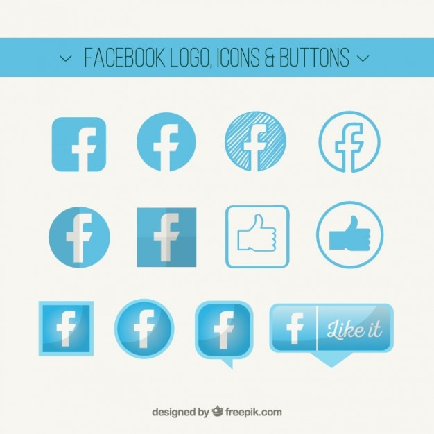 Facebook logo, icons and buttons Premium Vector
