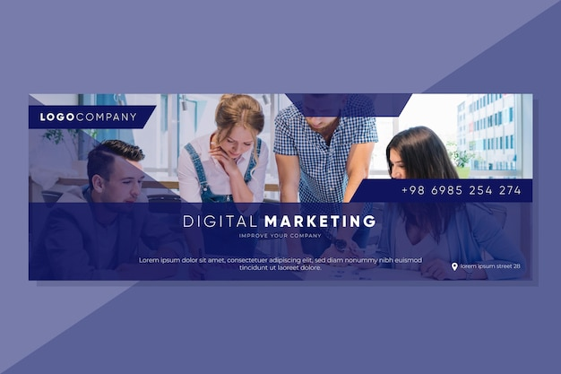 Facebook marketing cover template Free Vector