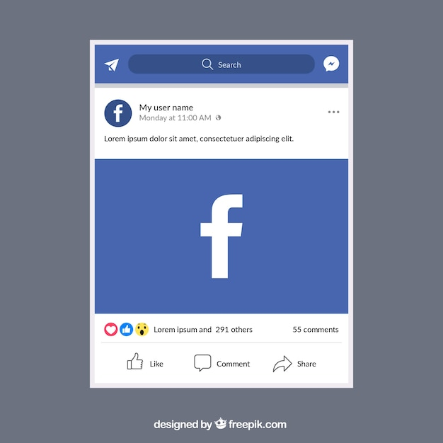 Facebook mobile post with flat design Vector | Free Download