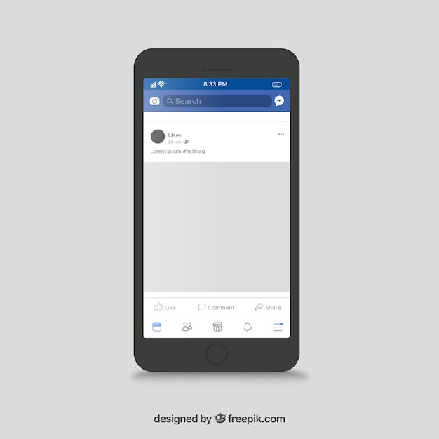 Facebook mobile post with flat design Free Vector