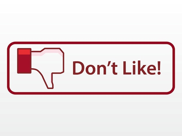Facebook networking dislike button vector