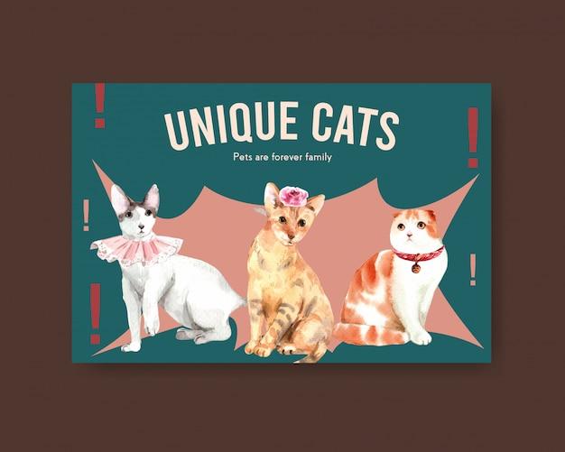 귀여운 고양이와 페이스 북 게시물 템플릿 무료 벡터