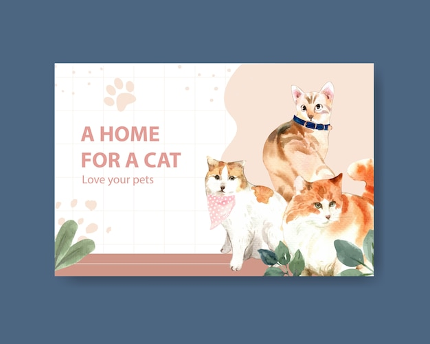 Facebook post template with cute cats Free Vector